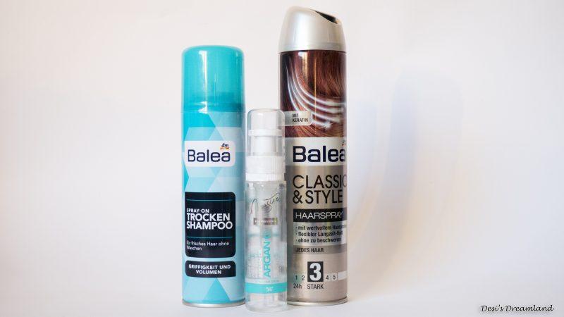 Сух шампоан Balea, Лак за коса Balea и SPA Master Professional Възстановяващ серум за коса
