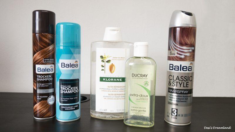 Сухи шампоани Balea, Шампоан Klorane, Шампоан Ducray Extra-Doux и лак за коса Balea Classic & Style