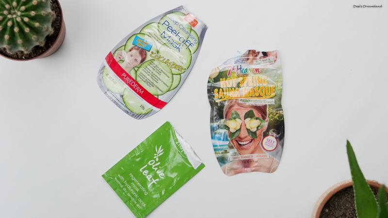 Регенерираща маска за лице с маслинов лист Ziaja, Дълбоко почистваща пилинг маска с краставица Purederm и Самозатопляща се пролетна сауна-маска 7th Heaven