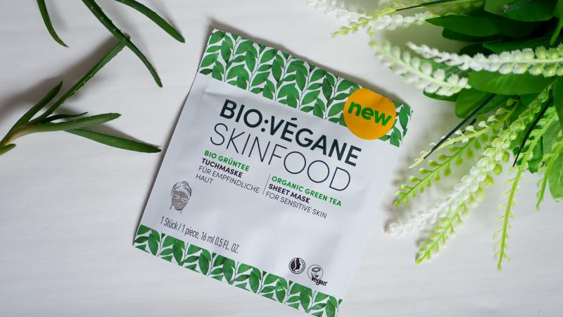 Лист маска за лице BIO:VEGANE SKINFOOD със зелен чай за чувствителна кожа