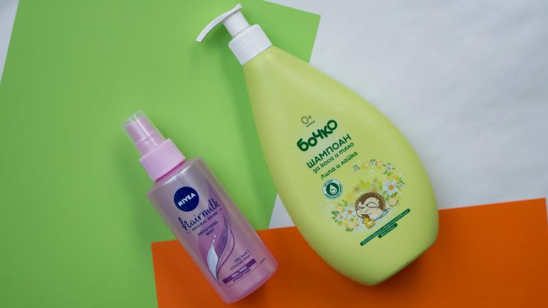 Бебешки шампоан Бочко с липа и лайка и Заглаждащ спрей за коса Nivea hairmilk